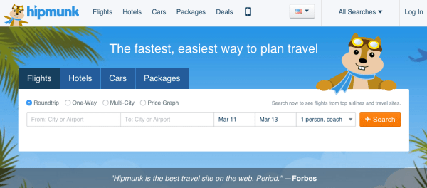 Hipmunk flights and hotel bookings CTA form