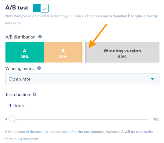 ab testing sample size settings in hubspot