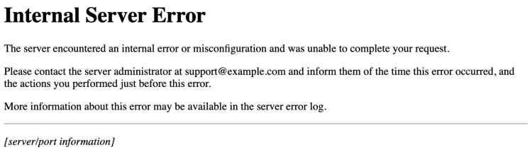 screenshot of an http 500 internal server error message example