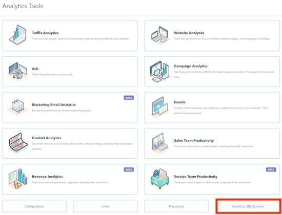 How to build UTM code in HubSpot: Open the tracking url builder