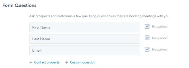 screenshot of hubspot meetings tool form questions