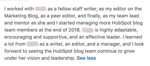 Recommander le chef d'équipe LinkedIn