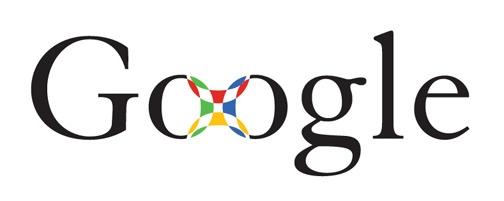 Vroege zwarte serif-lettertype Google-logo prototype waarbij Os zijn verbonden door een gekleurd vierkant patroon