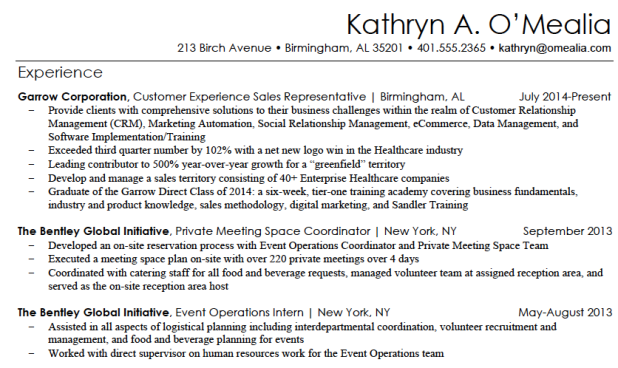 Example of metrics in a marketing resume