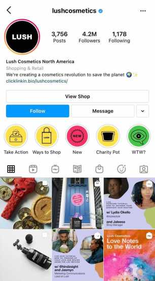 lush instagram profile example of social media content marketing