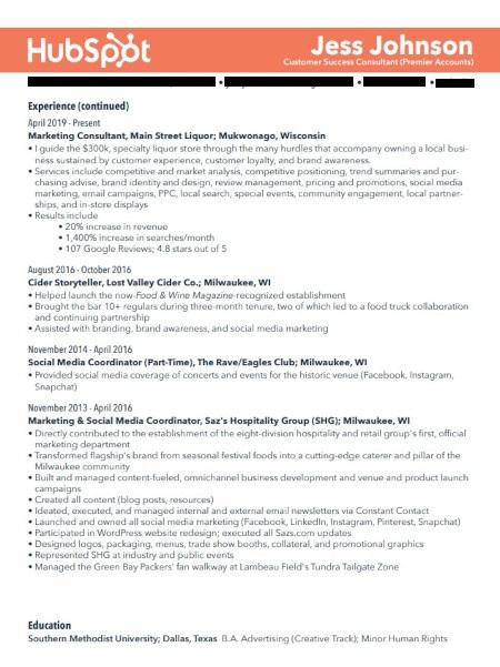 Marketing Resume Example: Jess Johnson Page 2