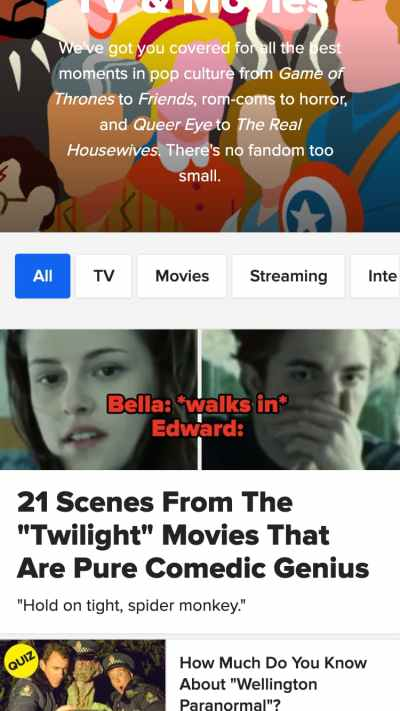 mobile website design: buzzfeed film and media page