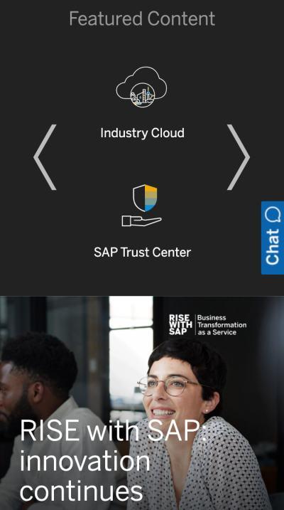 mobile website design: sap homepage