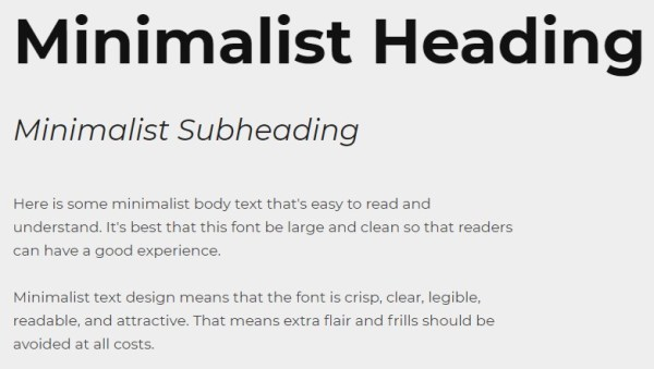 minimalist text design with heading, subheading, and body font in montserrat