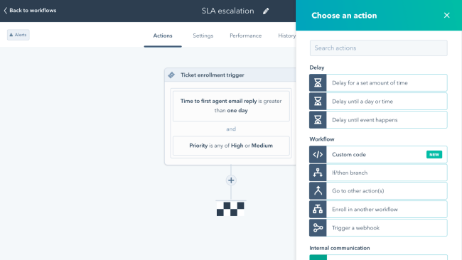 Operations workflow automation example in HubSpot