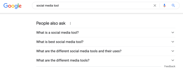 The The People Also Ask section on Google when searching for social media tools to create an audience profile.