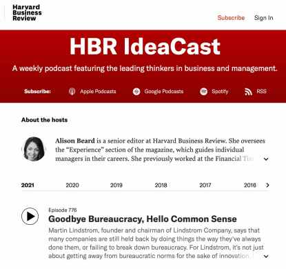 hardvard business review podcast content marketing example
