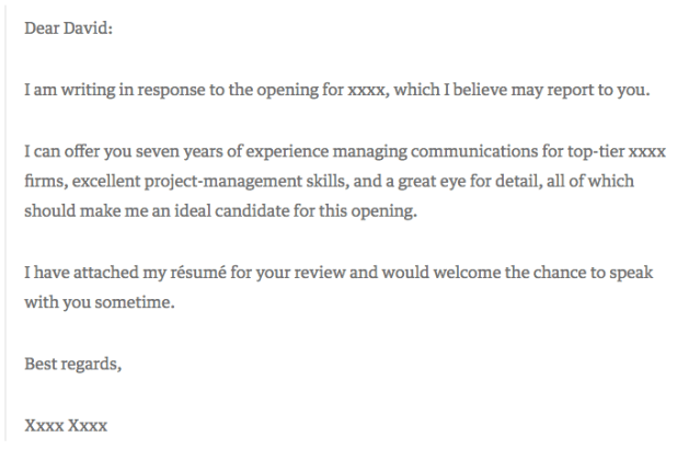 Short and sweet cover letter example with only three sentences