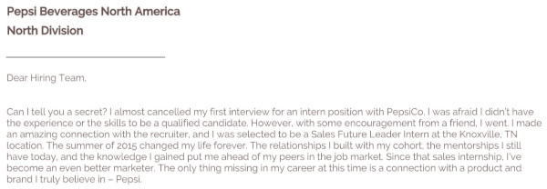 short cover letter example from basha coleman that starts with a short story about her existing experience with pepsi