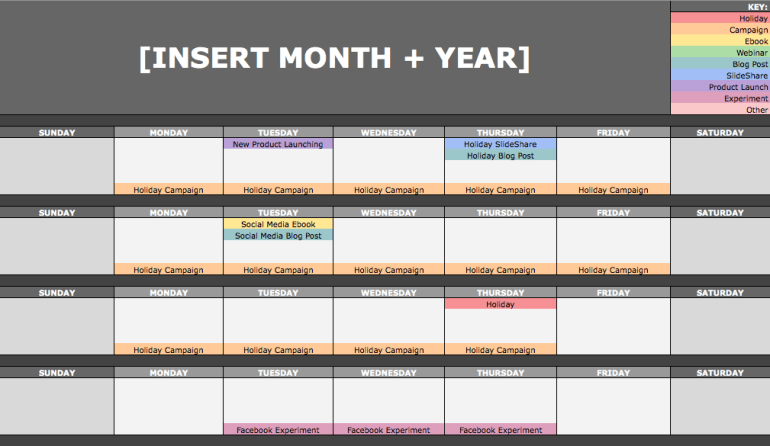social media content calendar month view with colored cells for each content type
