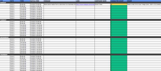 Social media calendar template for Twitter content