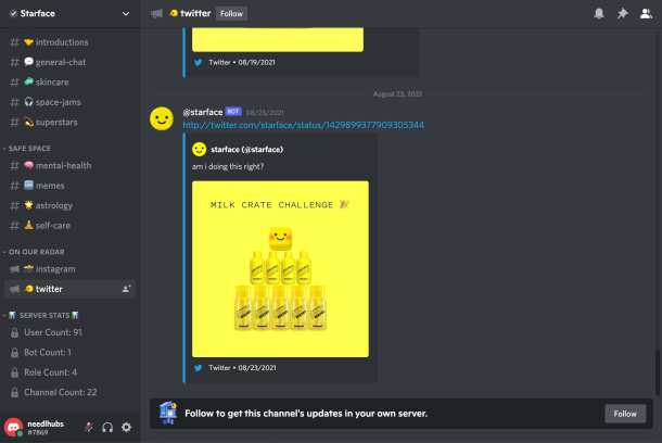 starface promoting twitter account on discord