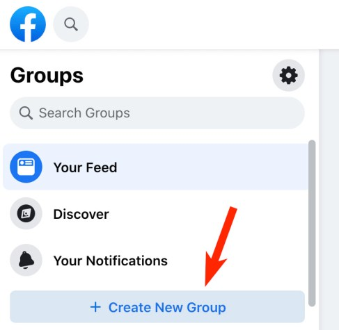 create new group button on facebook