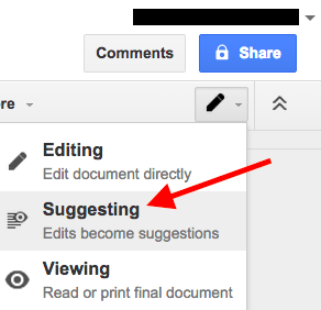 Suggesting mode for editing a Google Doc