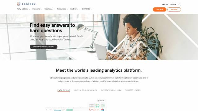 Tableau analytics platform and market research tool