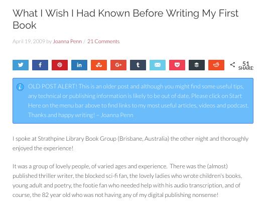 Esempio di un post sul blog sulla leadership del pensiero di Joanna Penn sullo scrivere un libro