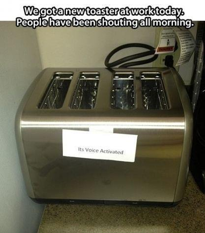 """toaster with label that says """"it's voice activated"""""""