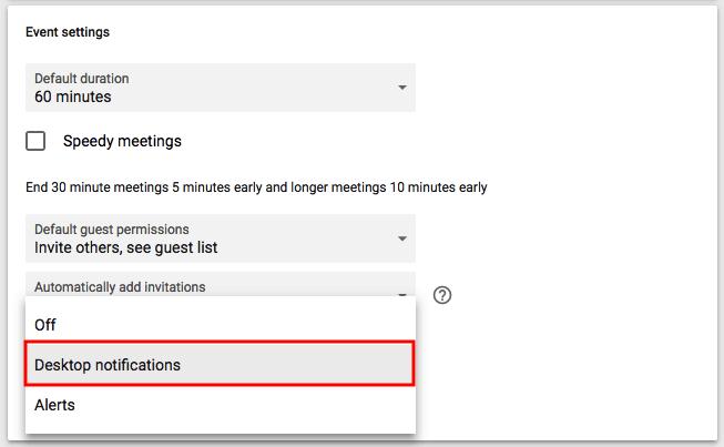 Dropdown menu to enable desktop notifications in Google Calendar
