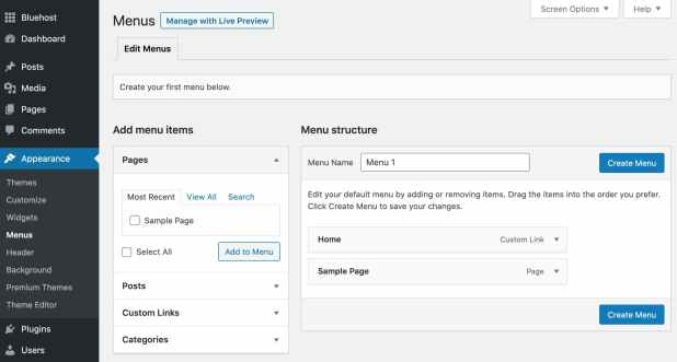 the menus options page on a wordpress website