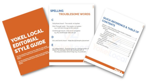 pages from hubspot agency yokel local's writing style guide