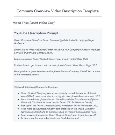 free youtube description template
