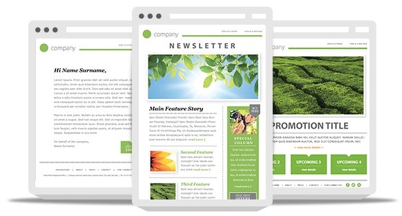 99Designs email newsletter template shown with responsive design on multiple devices