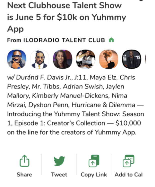 Clubhouse Talent Show Room Description noting that the event is sponsored by Yummy