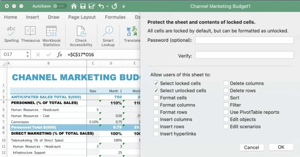 How To Protect a Worksheet in Excel step 3