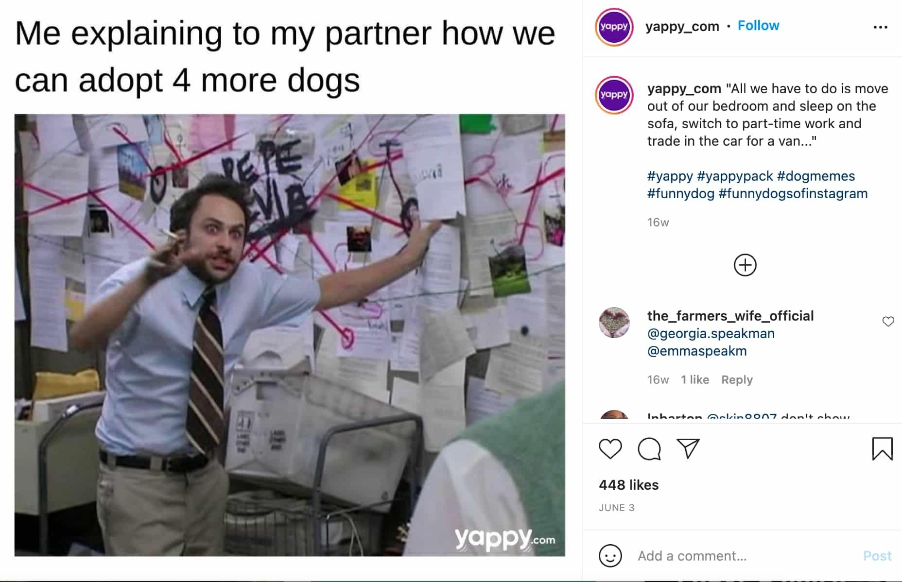 meme marketing example by Yappy