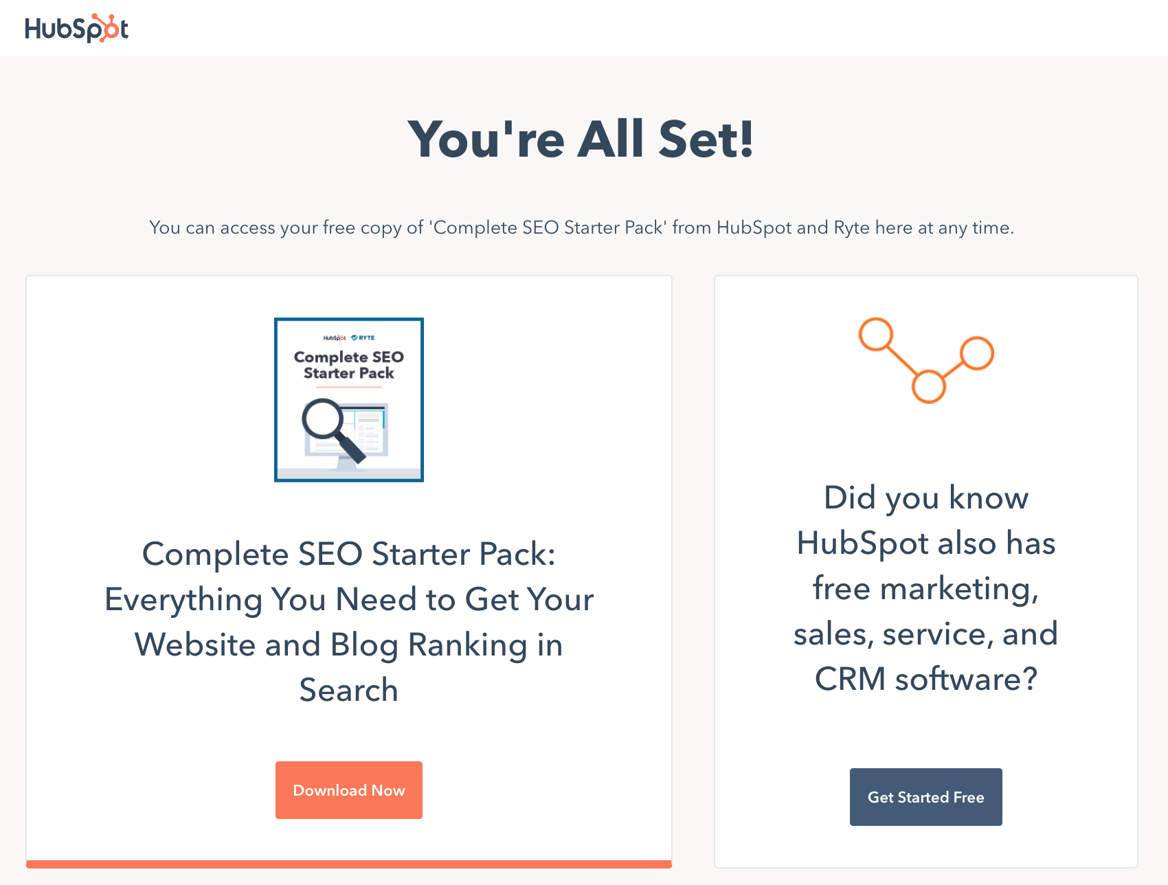 HubSpot SEO Starter Pack thank-you page