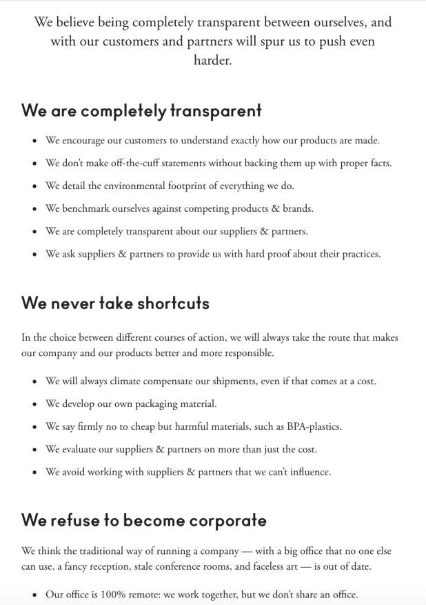 A Good Company's Values page