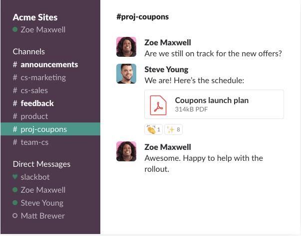 slack conversations dashboard example