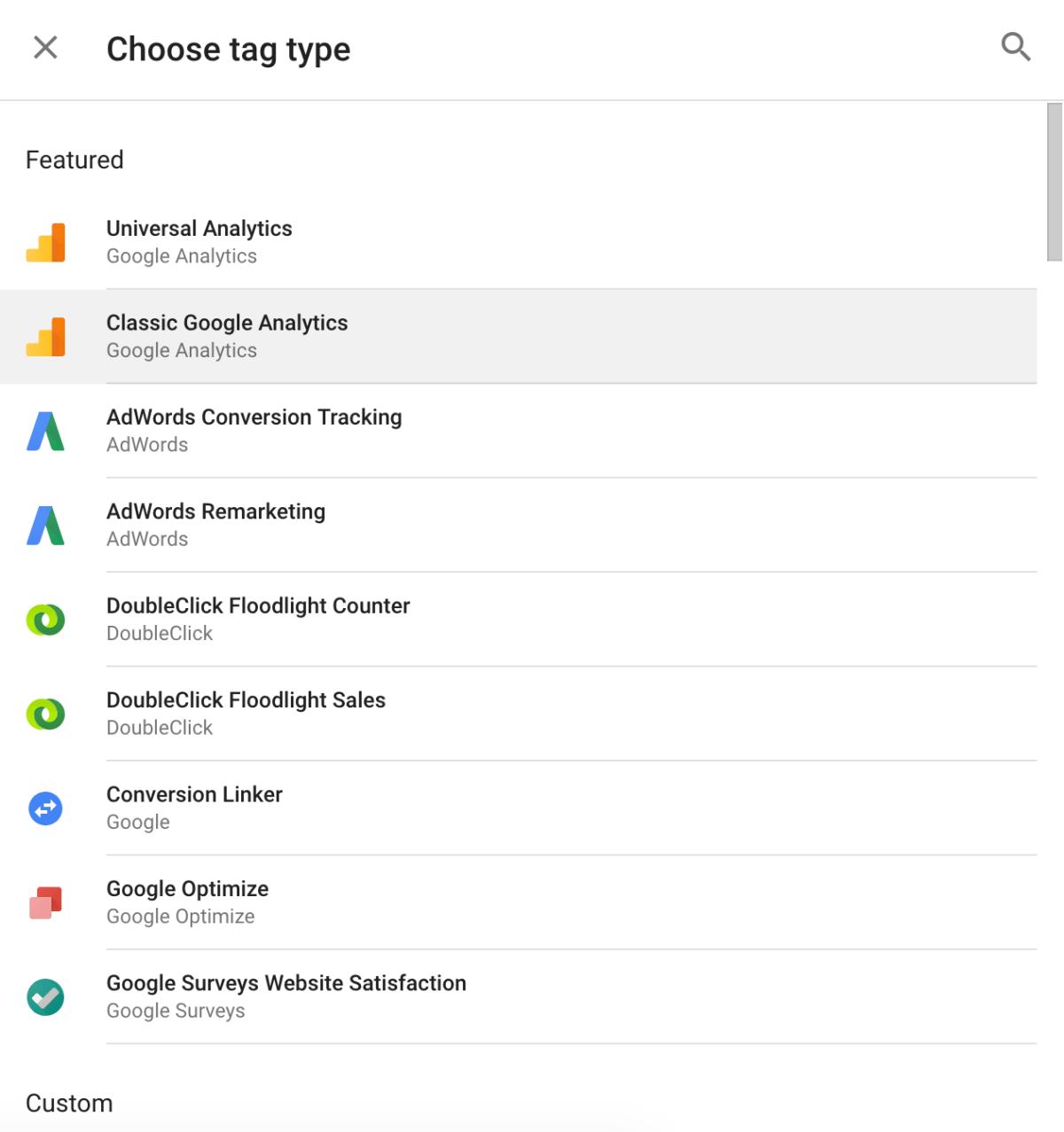 Google Tag types