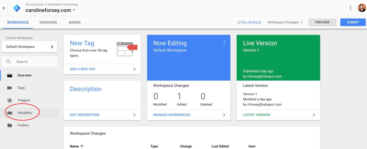 Variables in Google Tag Manager