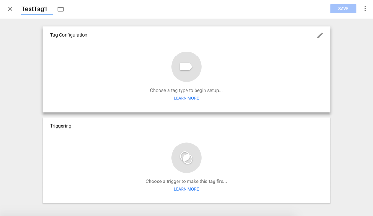 Tag configuration screen in Google Tag Manager