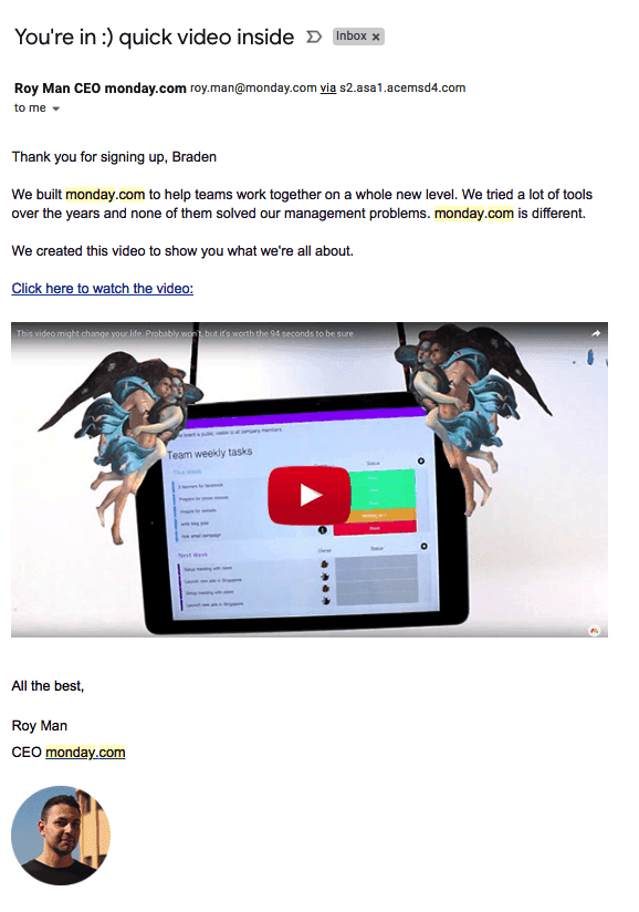 Monday.com welcome email with a link to watch a video by CEO Roy Man