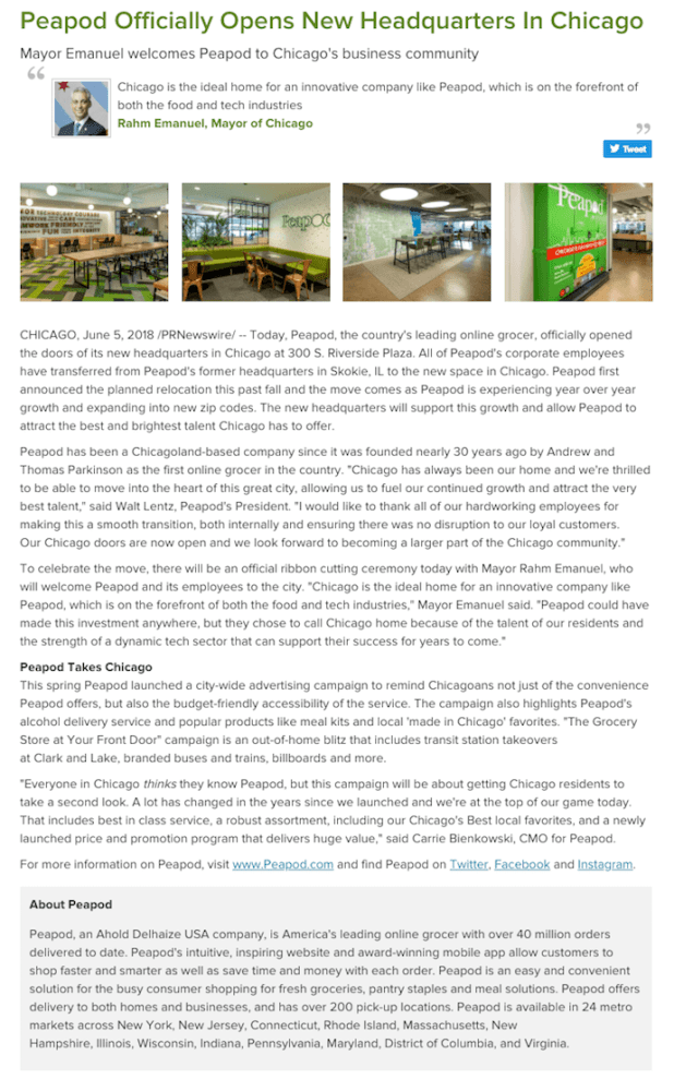 Press release by Peapod reporting on the company's new headquarters in Chicago