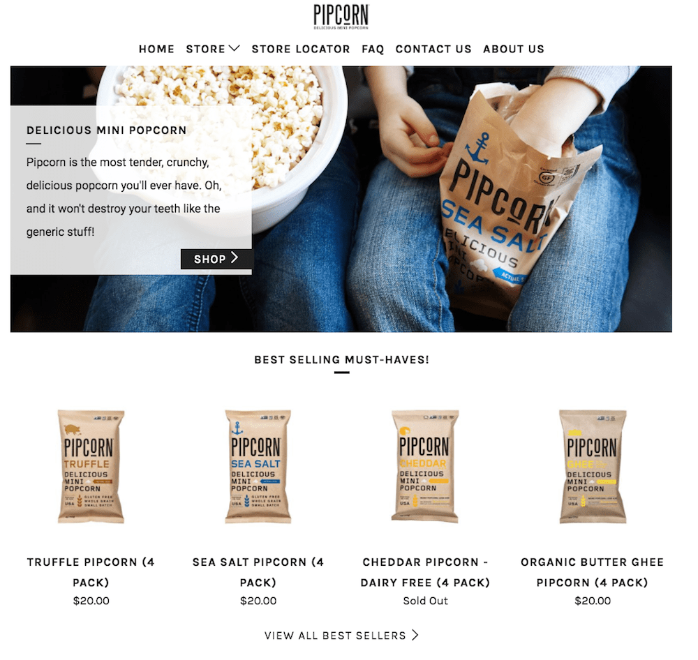 Pipcorn Shopify store  16 of the Best Shopify Stores to Inspire Your Own pipcorn