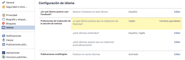 how to change the language of my profile on Facebook