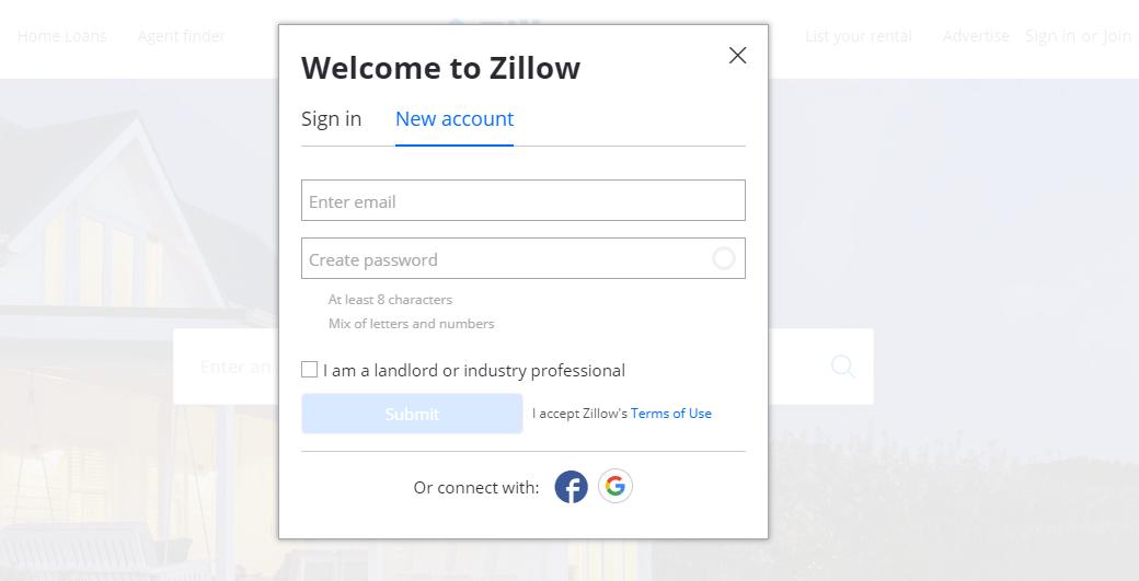 Zillow ejemplos forms