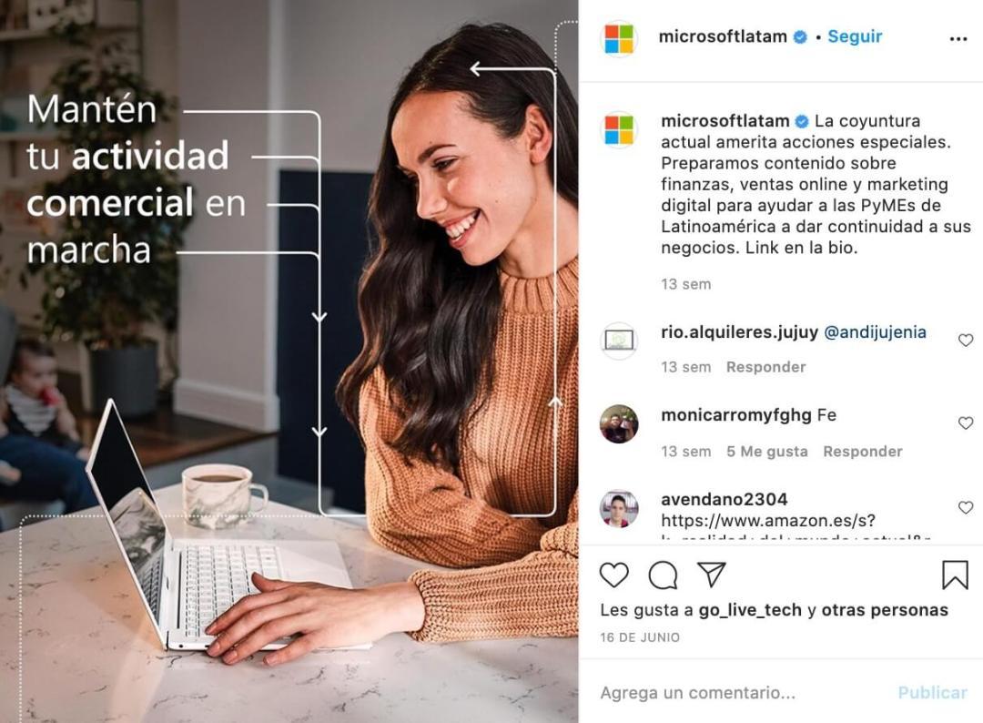 Marketing B2B para Instagram: Microsoft