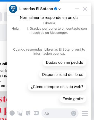 Ejemplo de chatbot de El Sótano