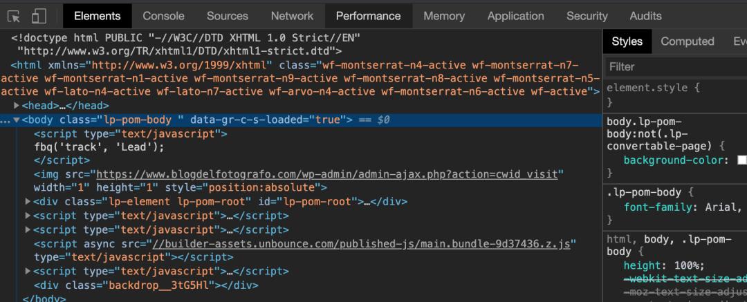 Vista previa desde el inspector de código para páginas web
