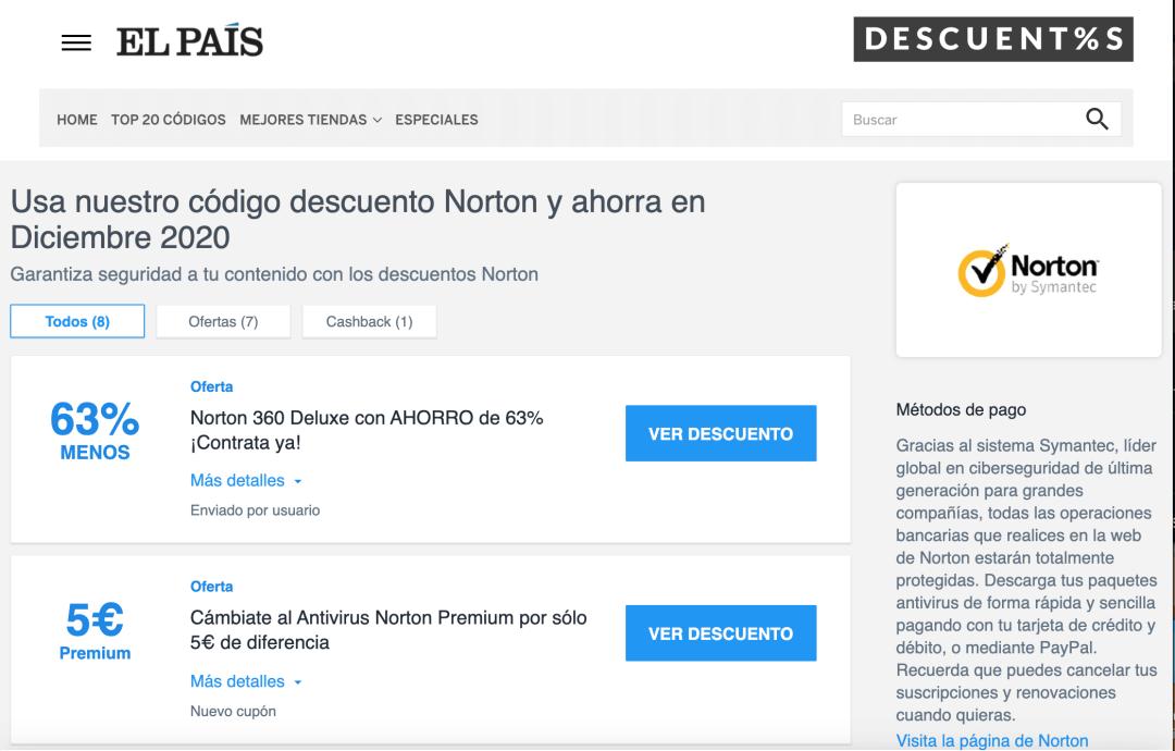 Ejemplo de cupón del antivirus Norton de Symantec en el sitio del periódico El País