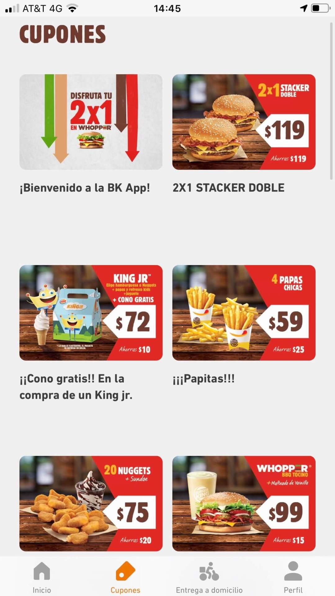 Burger King,  ejemplo de cupones digitales de la marca de comida rápida